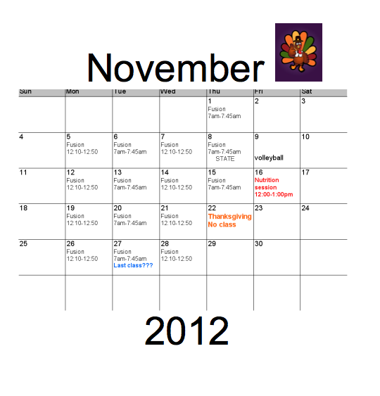 Workout schedule for November 2012