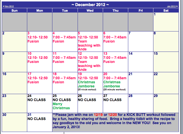 Forcefitness december schedule